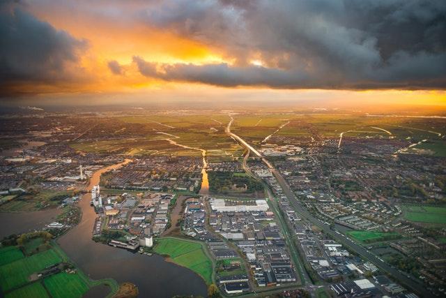 Buildings aerial view